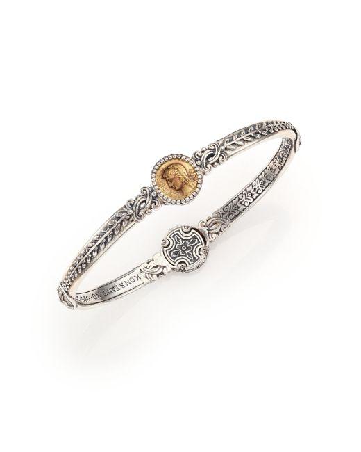 Konstantino | Metallic Kerma Bronze & Sterling Silver Coin Bangle Bracelet | Lyst