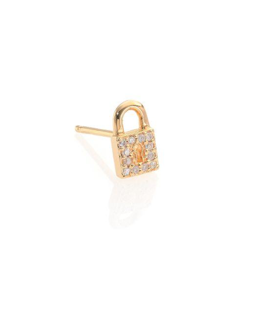Sydney Evan   Metallic Diamond & 14k Yellow Gold Lock Single Stud Earring   Lyst