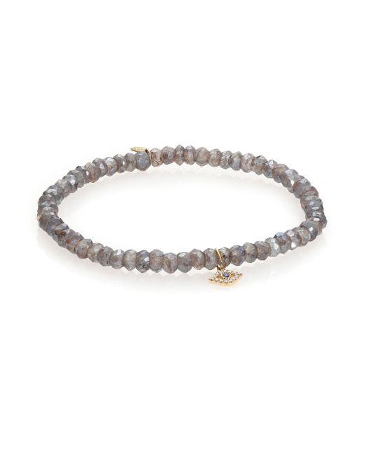 Sydney Evan | Gray Diamond, Sapphire, Labradorite & 14k Yellow Gold Evil Eye Beaded Stretch Bracelet | Lyst