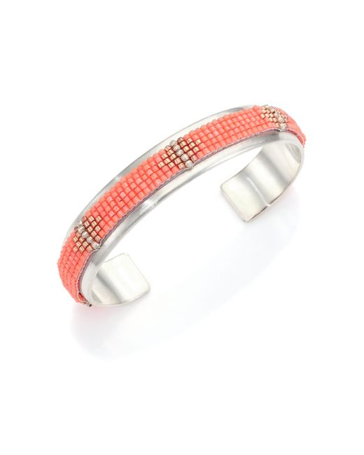 Chan Luu | Orange Beaded Sterling Silver Cuff Bracelet | Lyst