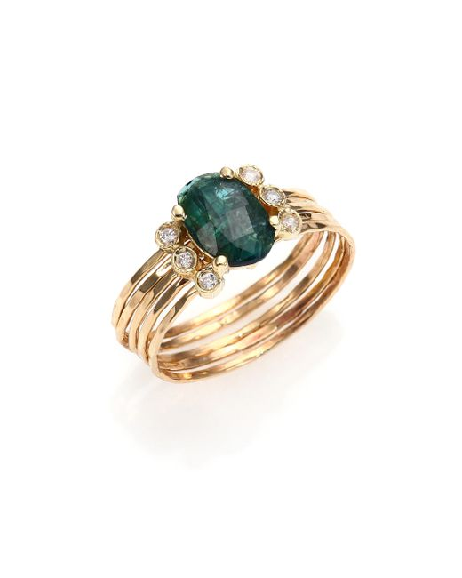 Jacquie Aiche | Metallic Green Tourmaline, Diamond & 14k Yellow Gold Multi-row Waif Ring | Lyst