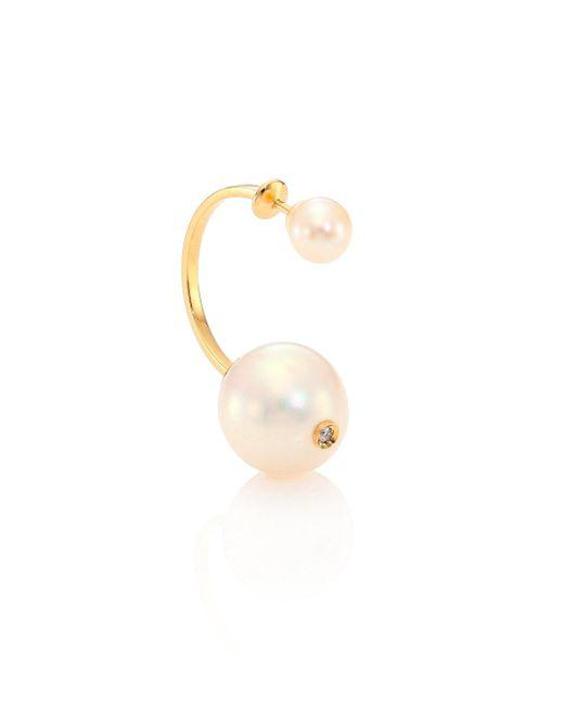 Delfina Delettrez | Metallic Roll In Stones 6mm-13mm Pearl, Diamond & 18k Yellow Gold Hook Back Single Earring | Lyst