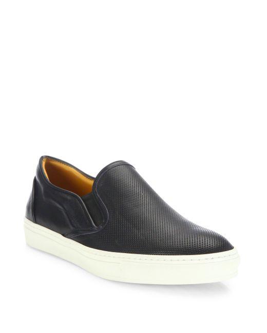 Saks Fifth Avenue | Black Leather Slip-on Sneakers for Men | Lyst