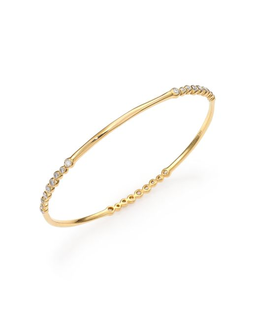 Ippolita | Metallic Glamazon Stardust Diamond & 18k Yellow Gold Bezel-set Station Bangle Bracelet | Lyst