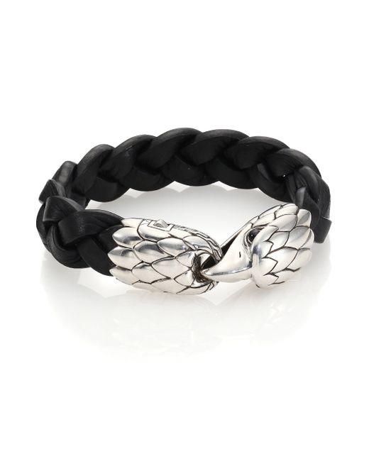 John Hardy   Black Classic Chain Woven Leather Eagle Bracelet for Men   Lyst