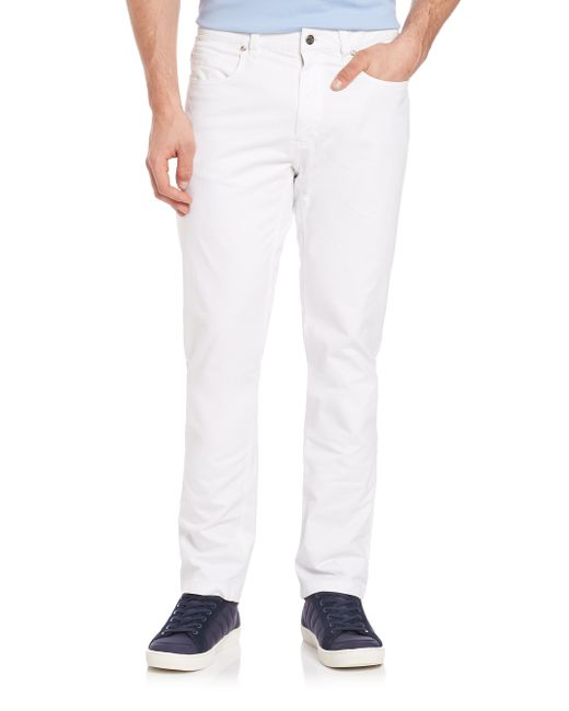 Saks Fifth Avenue | White Pima Cotton Straight-leg Pants for Men | Lyst