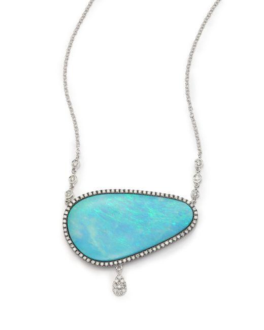 Meira T | Blue Boulder Opal, Diamond & 14k White Gold Charm Pendant Necklace | Lyst