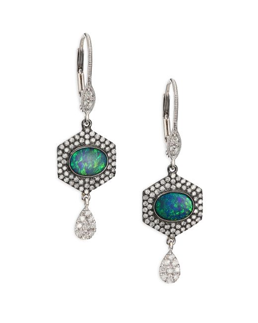 Meira T | Opal, Diamond & 14k White Gold Hexagon Drop Earrings | Lyst
