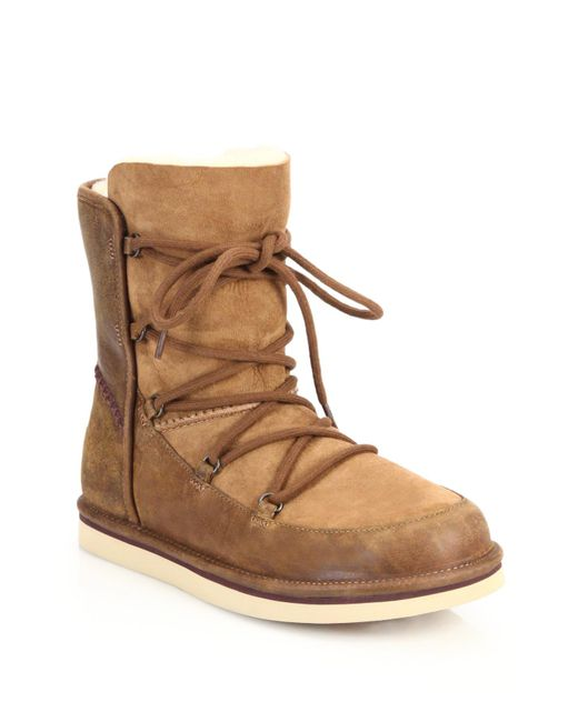 Ugg | Brown Lodge Suede Boots With Lace-up Front | Lyst
