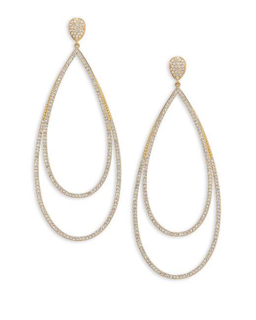 Adriana Orsini | Metallic Pave Crystal Double-tier Drop Earrings/goldtone | Lyst