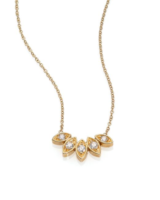Zoe Chicco | Metallic Diamond & 14k Yellow Gold Five-marquis Necklace | Lyst