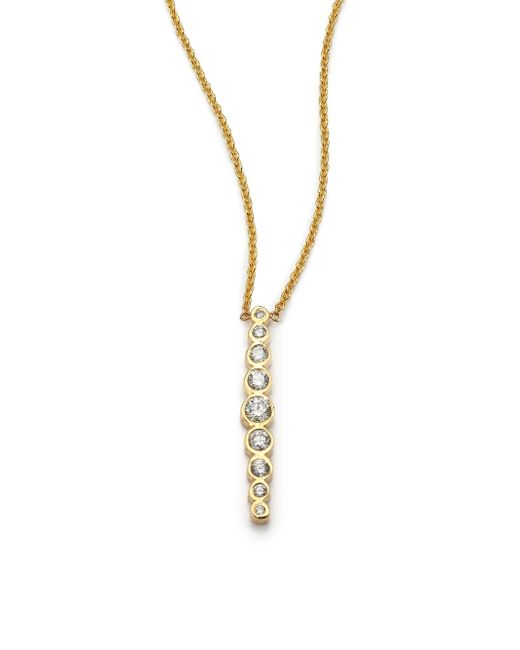 Zoe Chicco | Metallic Diamond & 14k Yellow Gold Vertical Graduated Pendant Necklace | Lyst