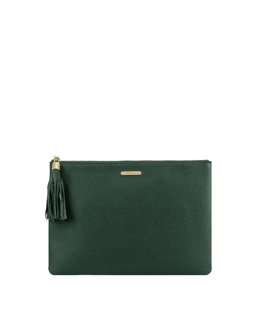 Gigi New York | Green Uber Pebbled Leather Clutch | Lyst