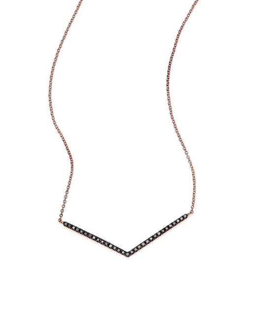 Diane Kordas | Pink Black Diamond & 18k Rose Gold Chevron Necklace | Lyst