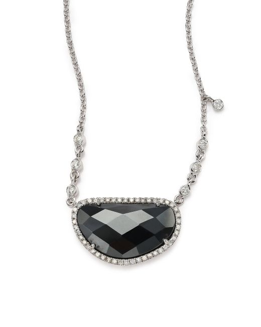 Meira T | Black Hematite, Diamond & 14k White Gold Pendant Necklace | Lyst