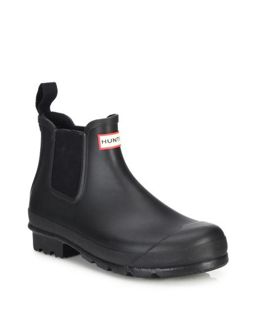 HUNTER | Black Original Short Slip-on Rain Boots for Men | Lyst