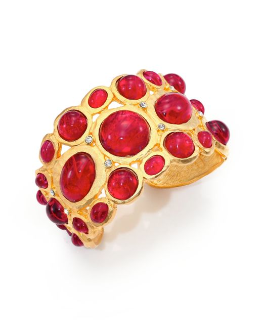 Kenneth Jay Lane | Sculpted Red Cabochon Bracelet | Lyst