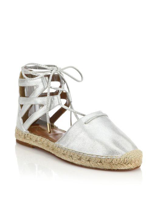 Aquazzura | Belgravia Metallic Leather Espadrille Sandals | Lyst