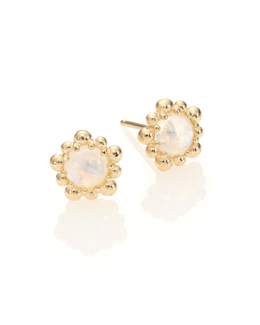 Anzie | Natural Dew Drop Moonstone & 14k Yellow Gold Stud Earrings | Lyst