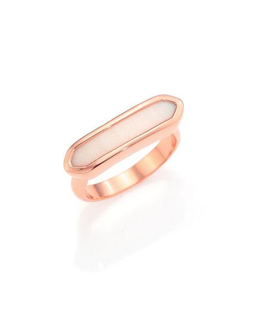 Monica Vinader | Pink Baja 18k Rose Gold-plated Vermeil & Chalcedony Long Ring | Lyst