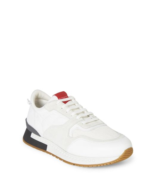 Givenchy | White Mixed-media Colorblock Trainers for Men | Lyst
