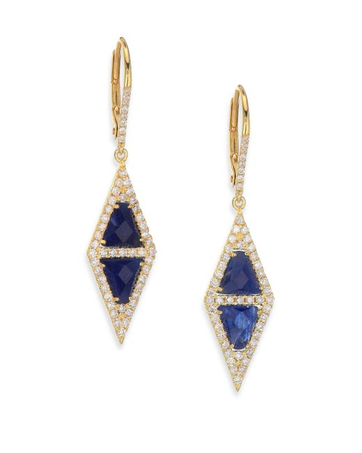 Meira T | Pave Diamond, Blue Sapphire, Silver & 14k Yellow Gold Drop Earrings | Lyst