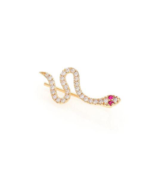 Sydney Evan | Pink Diamond, Ruby & 14k Yellow Gold Snake Single Ear Cuff/left | Lyst