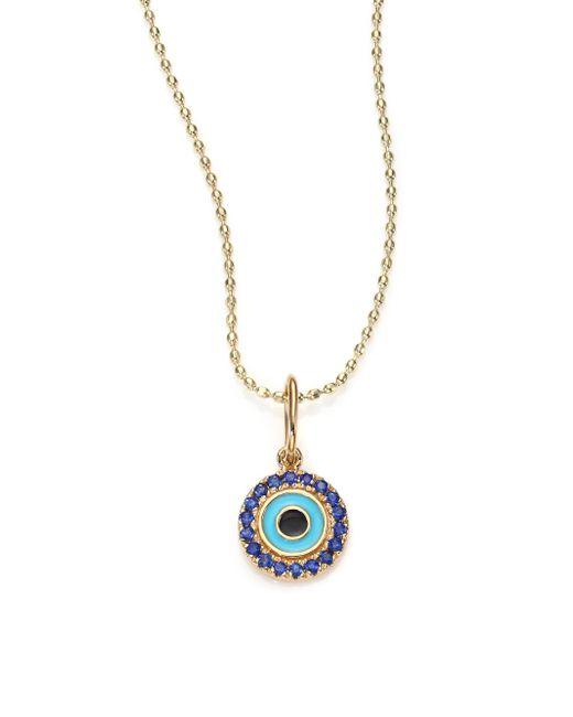 Sydney Evan | Blue Sapphire, Enamel & 14k Yellow Gold Evil Eye Pendant Necklace | Lyst