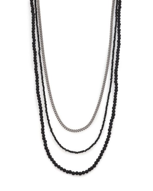 King Baby Studio | Metallic Black & Silver Triple Strand Necklace for Men | Lyst
