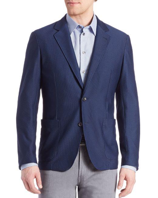 Armani | Blue Mesh Jacket for Men | Lyst
