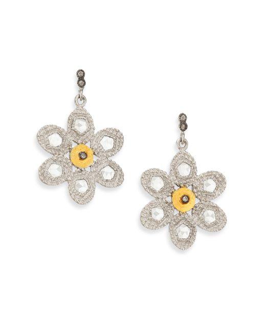Coomi   Metallic Opera Diamond, Crystal, 20k Yellow Gold & Sterling Silver Flower Drop Earrings   Lyst