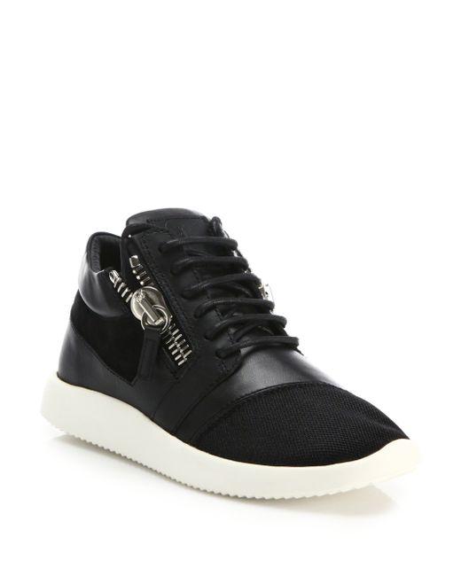 Giuseppe Zanotti | Black Leather & Mesh Side-zip Sneakers | Lyst