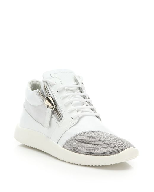 Giuseppe Zanotti | White Leather & Mesh Side-zip Sneakers | Lyst