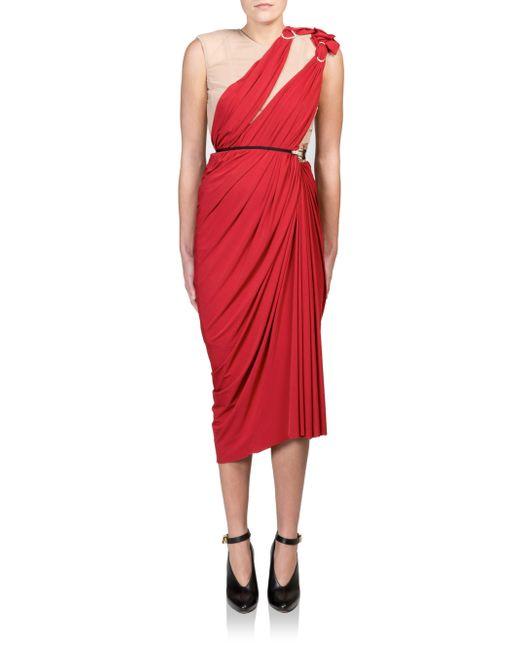 Asymmetric Drape Dress: Lanvin Asymmetrical Draped Ruched Dress In Teal (red)