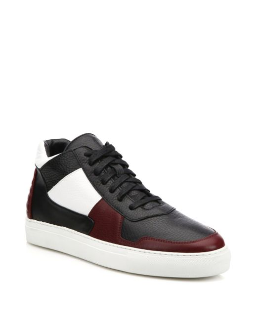facto vesta colorblocked mid top sneakers in black for