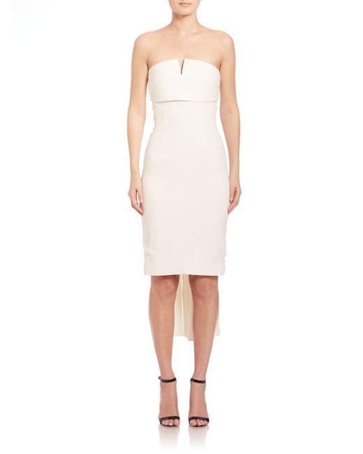 Brandon Maxwell | White Strapless Mini Back-pleat Dress | Lyst