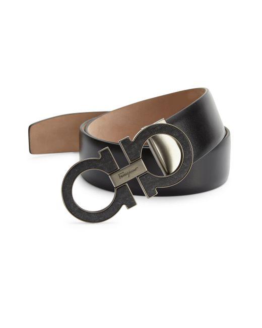 Ferragamo | Black Double Gancini Leather Belt for Men | Lyst