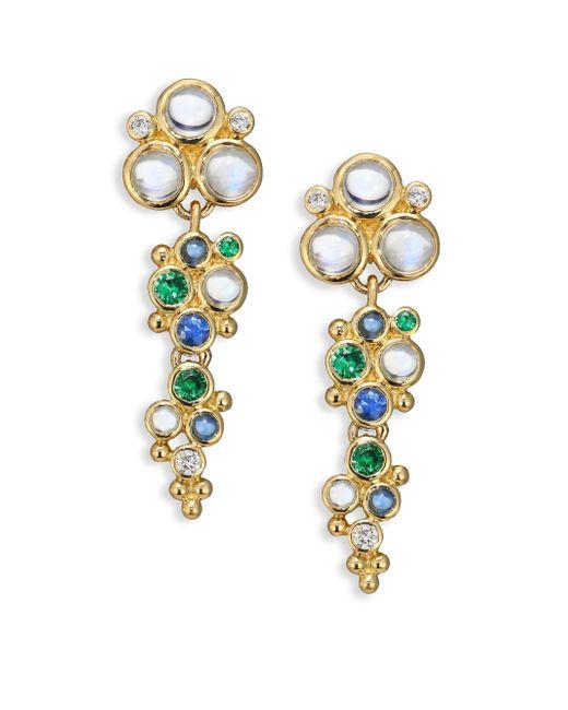 Temple St. Clair   Multicolor Mare Diamond, Royal Blue Moonstone, Blue Sapphire, Tsavorite & 18k Yellow Gold Drop Earrings   Lyst