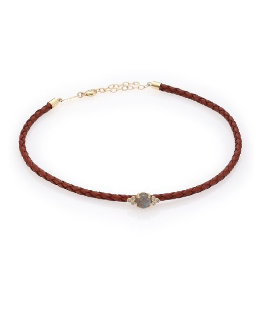 Jacquie Aiche | Brown Diamond, Labradorite, 14k Yellow Gold & Leather Choker Necklace | Lyst