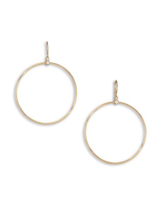 Mizuki   Metallic Diamond & 14k Yellow Gold Drop Hoop Earrings   Lyst