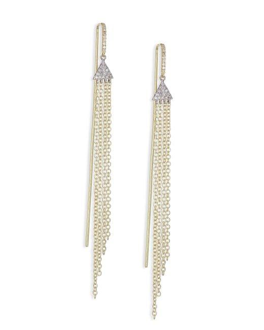Meira T   Metallic Diamond, 14k White & Yellow Gold Fringed Drop Earrings   Lyst