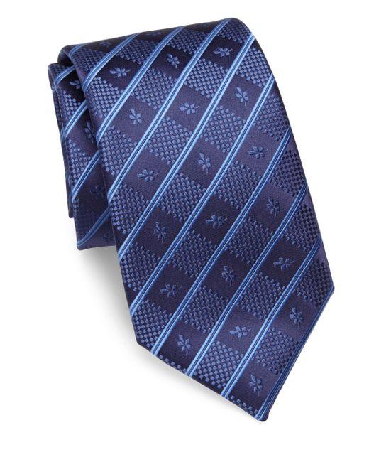 charvet striped silk tie in blue for lyst