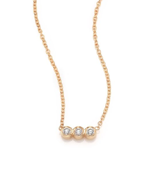 Zoe Chicco | Metallic Diamond & 14k Yellow Gold Pendant Necklace | Lyst