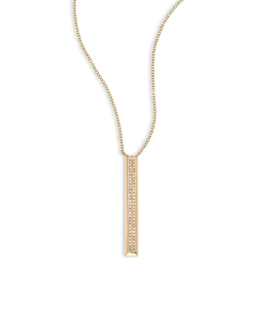 EF Collection | Metallic Vertical Diamond & 14k Yellow Gold Bar Pendant Necklace | Lyst