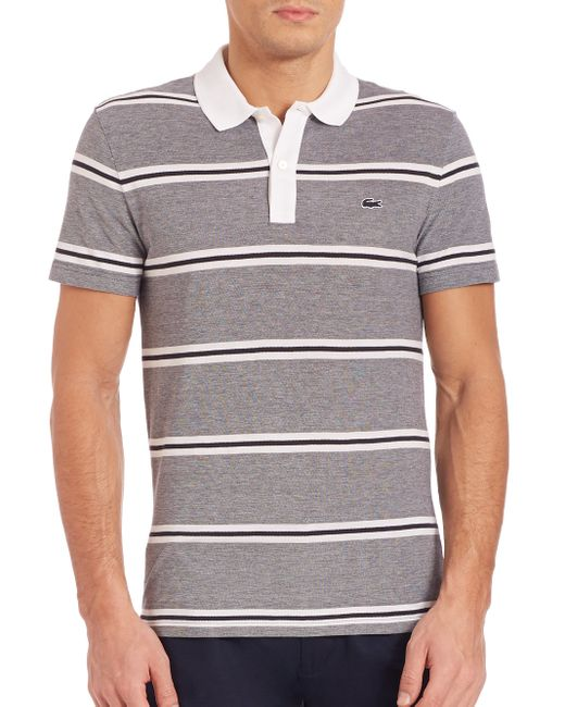 Lacoste pique double stripe polo shirt in blue for men lyst for Lacoste stripe pique polo shirt