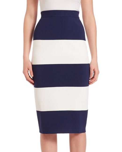 kendall striped pencil skirt in white navy white