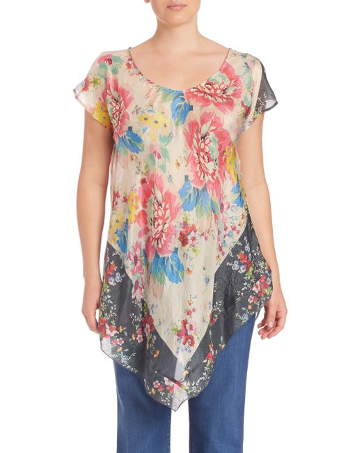Johnny Was Tropical Flower Silk Top In Floral Multi Lyst