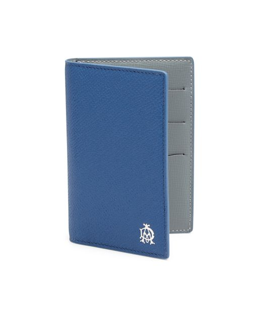 Dunhill Calfskin Leather Business Card Case in Blue for
