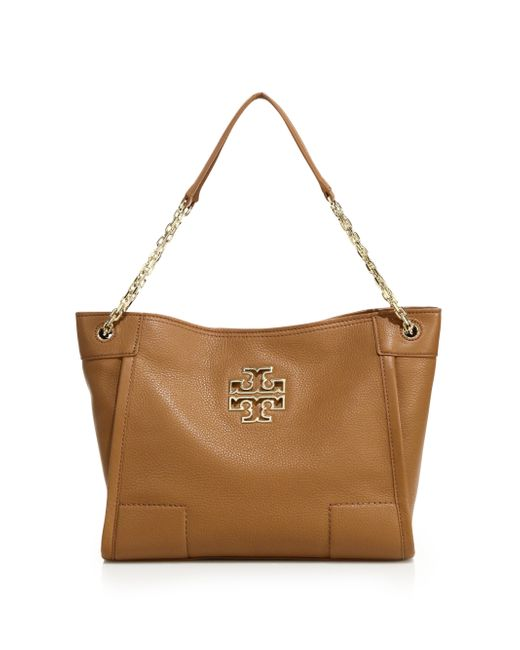 Tory Burch Britten Small Center Zip Leather Tote In Brown