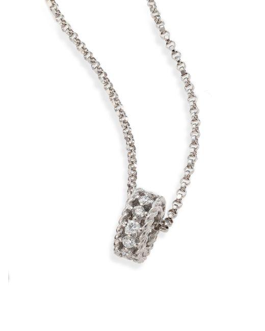 Roberto Coin | Metallic Large Pavã Black Diamond 18k White Gold Sphere Necklace | Lyst